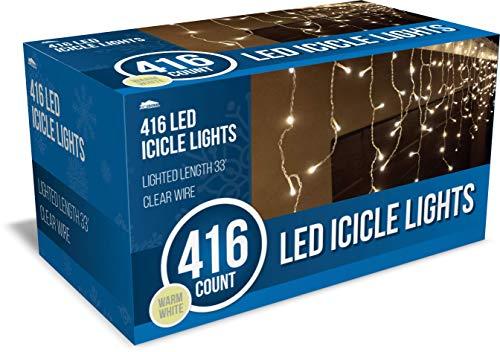 Joiedomi 416 LED Christmas Icicle Lights for Indoor & Outdoor Decorations, Christmas Events, Christmas Eve Night Decor, Christmas Tree, Eaves (Warm White)