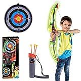 tenger arco y flechas Niños Set Arco–Diana de tiro con arco Equipos de juguete para niños Juego regalo de entrenamiento con flechas y objetivo caras, verde, 62*14*5cm