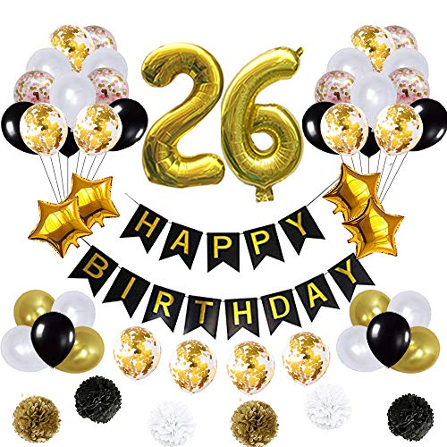 26 Birthday Decorations Ballons, Happy Birthday Banner/pom pom Flowers/Gold Mylar Balloons/Latex Balloons/Number 26 Foil Ballons Gold