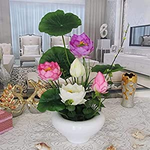 LZQBD Artificial Flowers,Home Pu Silk Flower Vase Fake Decoration Artificial Lotus
