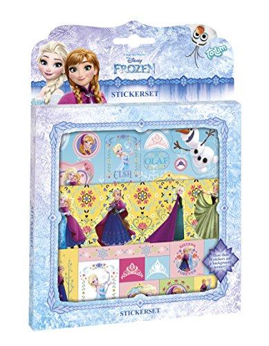 Totum 680203 Frozen großes Aufkleber-Set, bestehend aus DREI Bögen mit 50 Eiskönigin-Stickern mit Motiven von Anna, ELSA und Schneemann Olaf, mit Glitzer