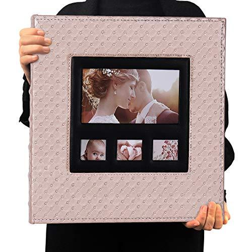 RECUTMS Álbum de fotos 10x15 600 fotos Cuero PU Capacidad Álbum de imágenes Cumpleaños Álbumes de fotos de Navidad Aniversario de bodas (Rosa claro)