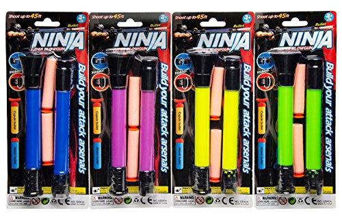 12 x Blasrohr Ninja Pusterohr 33 cm inkl Pfeile versch. Farben Mitgebsel Tombola
