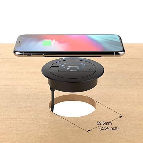 Foluu Kabelloses Ladegerät, 10 W, tragbar, kabellos, Ladestation und USB-Ladegerät, kompatibel mit iPhone Xs Max/XS/XR/X/8/8 Plus, Galaxy S9/S9+/S8/S8+/Note 8, alle Qi-fähigen Telefone, schwarz