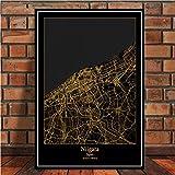 Famoso pintor Amsterdam Barcelona Ciudad del mundo moderno Mapa de oro Viaje Larg Cartel Arte de la pared Carteles e impresión de lienzo Pintura para la habitación Decoración para el hogar-50x70