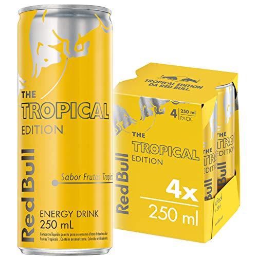 Energético Tropical Red Bull Energy Drink Pack com 4 Latas de 250ml