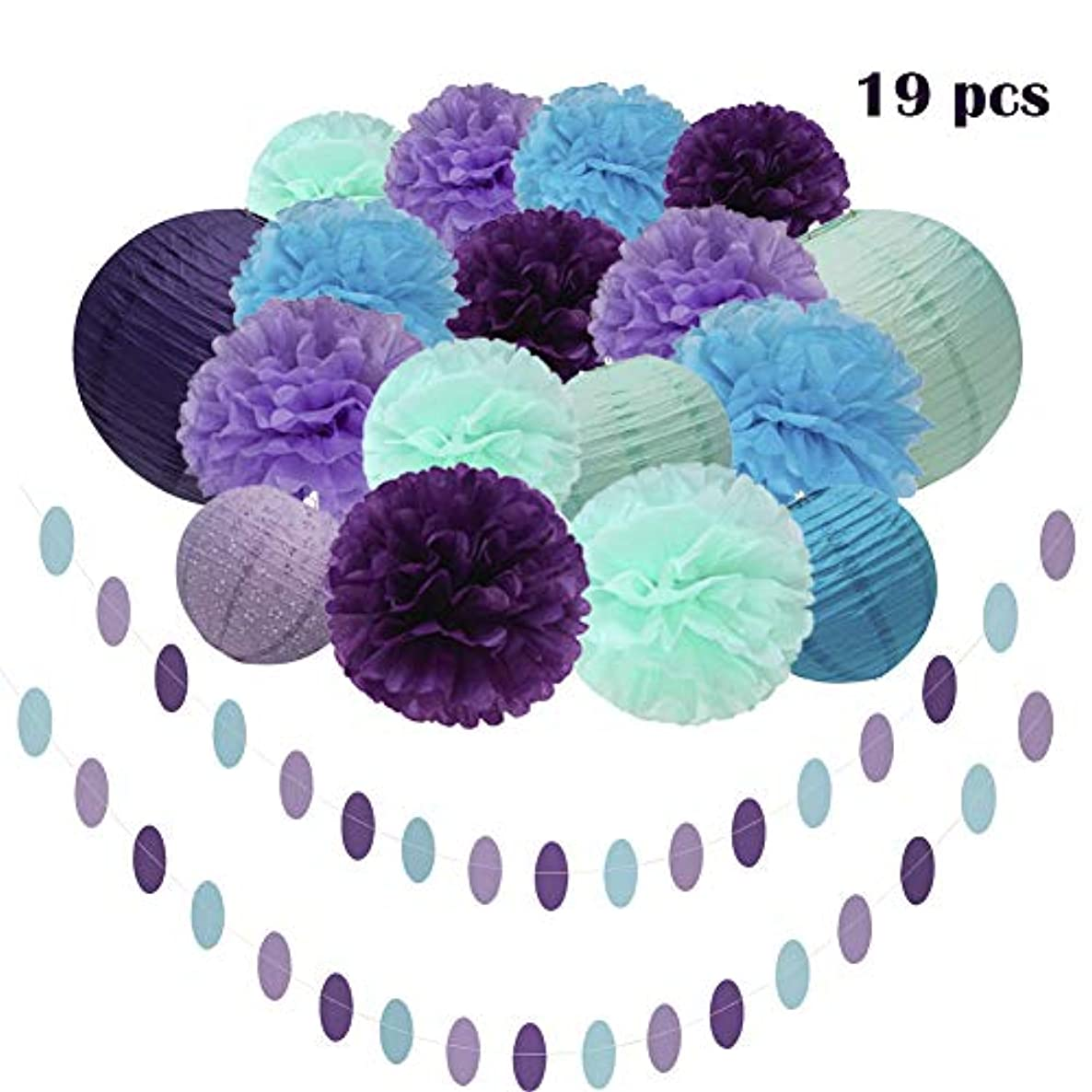 Mermaid Party Decorations Supplies ,19Pcs Teal Lavender Purple Mint Tissue Paper Flower Pom Poms Lanterns Polka Dot Triangle Garland Banner for Girls Birthday party,Under the Sea Party,Frozen Party Supplies,Baby Shower, Bridal shower Decorations