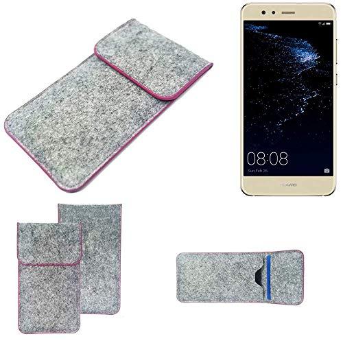 K-S-Trade Handy Schutz Hülle Für Huawei P10 Lite Dual-SIM Schutzhülle Handyhülle Filztasche Pouch Tasche Hülle Sleeve Filzhülle Hellgrau Pinker Rand