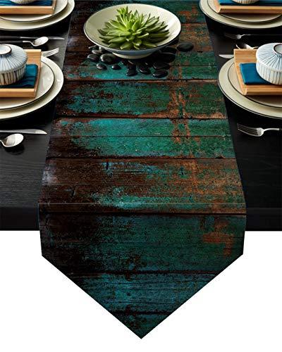 Linnen jute tafel loper dressoir sjaals 13 x 70 inch, rustieke oude houten Board Boerderij Tafellopers voor feestjes, Eetkamer, Home Keuken, Bruiloft Decoraties