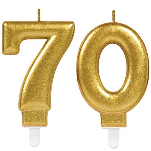 Carpeta 2X Zahlenkerzen * Zahl 70 * in Gold | 11cm x 9cm groß | Deko Hochzeit Jubiläum Geburtstagskerze Kerze Geburtstag
