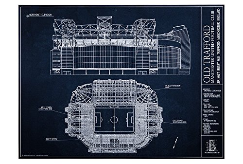 "Old Trafford - Manchester United Football Club - Blueprint Style Print (Unframed, 18"" H x 24"" W)"
