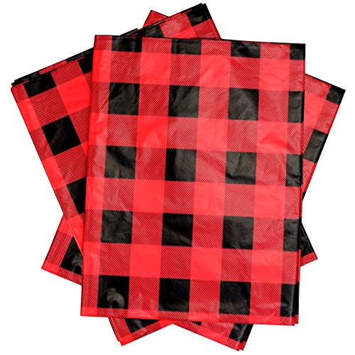 Iconikal 54 x 108-inch Plastic Tablecloth Table Cover, Red Buffalo Plaid, 3-Pack