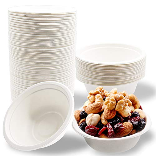 100 PCS 12oz White Disposable Paper Bowls,Eco-Friendly Bagasse Bowls,Natural Compostable Plant Fiber Dinner Bowls for Snacks,Parties,Picnics,Banquets and Barbecues