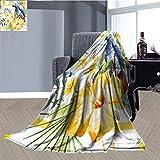 JxjwsPrints Parrot Manta térmica ultra suave, patrón trópico con orquídeas loro y flores de hibisco hawaiana estilo selva manta térmica para todas las estaciones, 228 x 177 cm