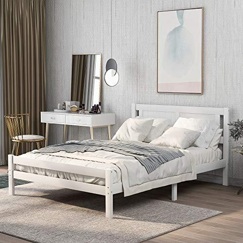 Cama de matrimonio, color blanco, marco de cama de madera maciza, muebles de dormitorio para adultos, niños, adolescentes, cama doble, 190 x 135 cm, color blanco