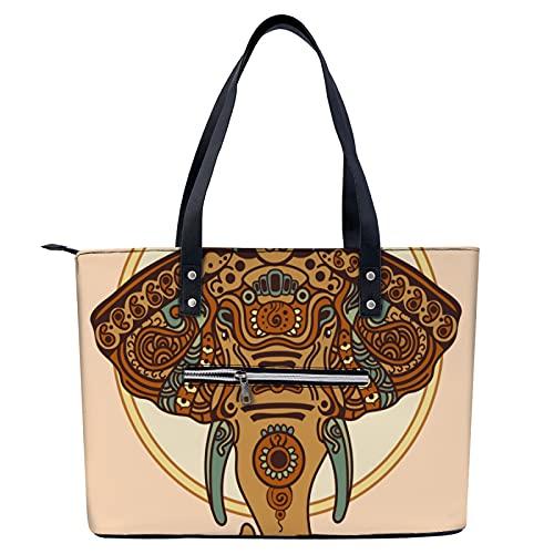 Bolso de mano de elefante tribal vintage para ir de compras, gimnasio, senderismo, viajes, yoga, bolsa de hombro con bolsillos exteriores con cremallera