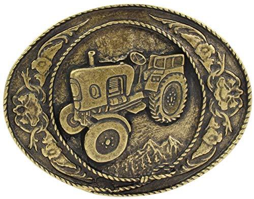 Brazil Lederwaren Gürtelschnalle Traktor 4,0 cm | Buckle Wechselschließe Gürtelschließe 40mm Massiv | Für die Tracht | Altmessing