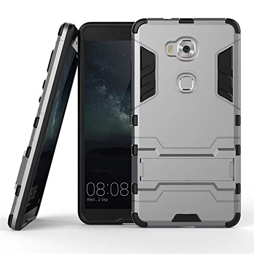 Huawei Honor 5X Case,Lantier [Heavy Duty] [Shock-Absorption] [Kickstand Feature] Hybrid Dual Layer Armor Defender Full Body Protective Case Cover for Huawei Honor 5X Grey