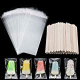 100 Pieces Popsicle Bags Ice Cream Bags Clear Ice Pop Plastic Bags and 100 Pieces Wooden Popsicle Sticks Ice Pop Sticks for DIY Making Ice Cream Supplies (4.49 Inch, 8.27 x 3.15 Inch)
