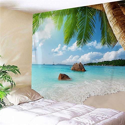 Tapeçaria de praia para pendurar na parede, paraíso tropical, coqueiro, hippie, tapeçaria boêmia, para sala de estar, quarto, dormitório (152 x 203 cm), C