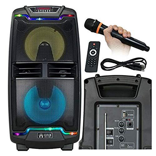 "EMB PKL206BT 800 Watt Dual 8"" x 2 Speaker Rechargeable DJ Portable PA Speaker High Power Long-Throw 8x2'' Full Range Speaker w/MIC, USB, SD, Bluetooth"
