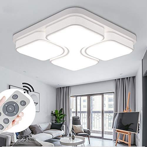 MYHOO 48W LED Regulable Luz de techo Diseño de moda moderna plafón,Lámpara de Bajo Consumo Techo para Dormitorio,Cocina,oficina,Lámpara de sala de estar,Color Blanco (48W Regulable)