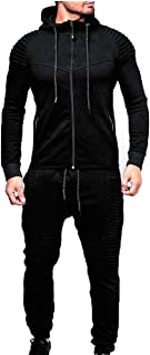 Men's 2 Pieces Tracksuits Running Jogging Athletic Casual Outfits Suit Solid Full Zip Sports Hooded+Pants Sweatsuits