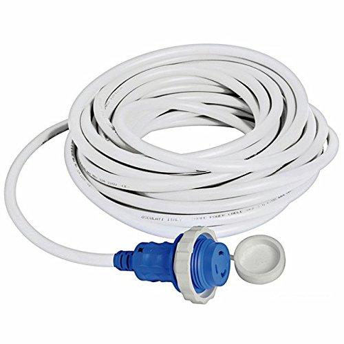 Osculati 15m Kabel weiß und Stecker mit integrierter LED-Anzeige wasserdicht max. 30 Ampere