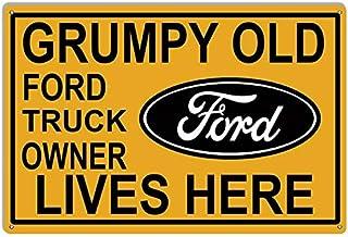 To243Finn Ford Schilder Grumpy Old Ford Truck Owner Lives Here 040 Aluminium Garage Art Decor Metallschild