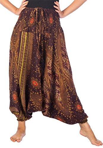 Lofbaz Mujeres Smocked Cintura Floral Patrón 2 en 1 Mono Harén Pantalones Marrón S