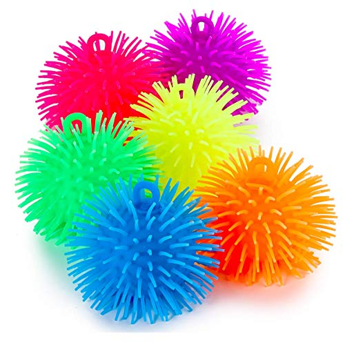 Kicko Puffer Balls - 6 Pack - Thick Squishy Balls in Assorted Colors for Kids, Sensory Game, Stress Relief, Therapy Toy, Party Favor, Goody Bag Filler