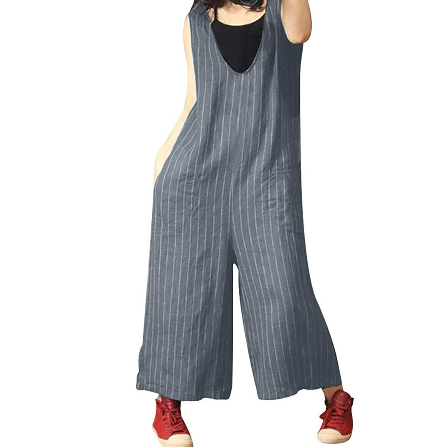 ZQISHMAO Women Linen Bib Pants Wide Leg Jumpsuits Girl Rompers Overalls with Pockets