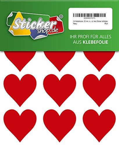 24 Klebeherzen, 50 mm, rot, aus PVC Folie, wetterfest, Herz Sticker Aufkleber