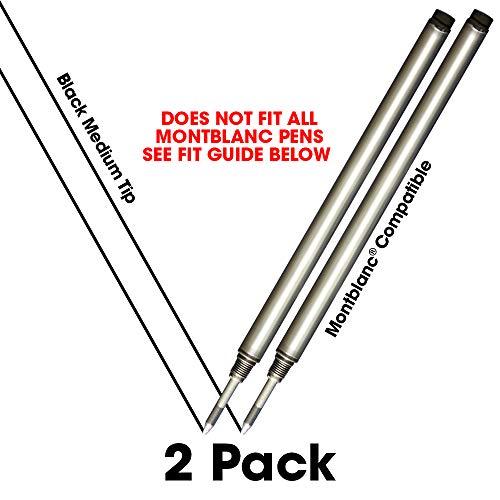Jaymo - 2 – Reemplazo de recargas de tinta negra compatibles con Montblanc® bolígrafos roller de tinta. Escritura fluida tinta alemana y punta media. Comparar con Montblanc 105158/107877/MNB15158