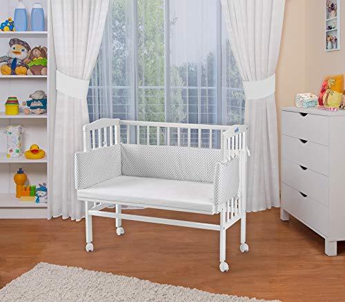 WALDIN Baby Beistellbett mit Matratze, höhen-verstellbar, Holz weiß lackiert,Große Liegefläche 90x55cm/Punkte-grau