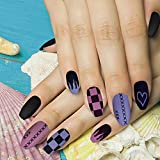 Matte Ballerina Heart Flame Smile Chessboard Press On Nails,Black Purple Fake Nails,Two-tone Coffin Artificial Full Cover False Nails,Acrylic Nail Tips for Women&Girls,24PCS