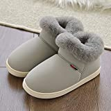 YUTJK Womens Slipper Memory Foam Fluffy Suede Fur Lined Anti-Skid Sole Mule Indoor & Outdoor,Warm Couple Home Cotton Shoes-Gray2_6/6.5UK