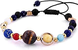 Guoshang Solar System Bracelet Universe Galaxy The Eight Planets Guardian Star Natural Stone Beads Bracelet for Women Men