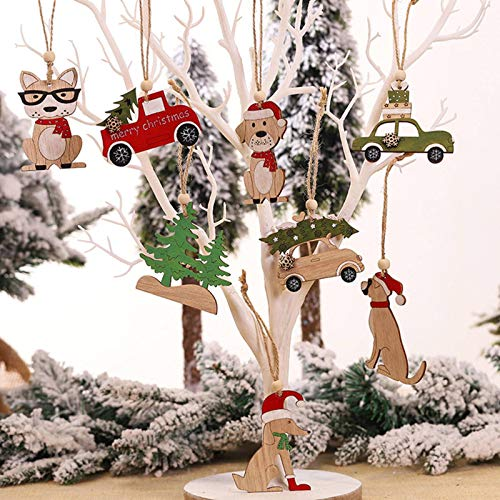 None/Brand 8PCs/Set Wooden Hanging Craft Christmas Tree Cabin Elk Car Decorations Christmas Party Home Decoration Christmas Pendant