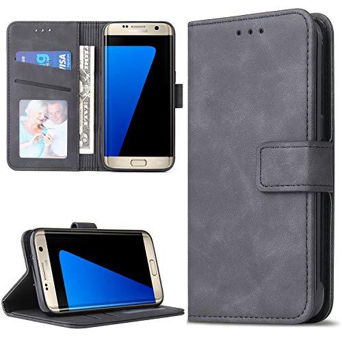 Lelogo Galaxy S7 Hülle, Handyhülle Kompatibel für Samsung Galaxy S7 Lederhülle, Handytasche Schutzhülle Tasche Flip Brieftasche Case [Premium PU Leder] mit Kreditkartenhaltern (Schwarz)