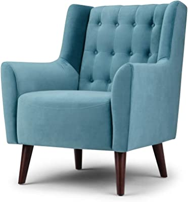 Surprising Amazon Com Park Avenue Sky Blue Hand Tied Accent Chair And Ibusinesslaw Wood Chair Design Ideas Ibusinesslaworg