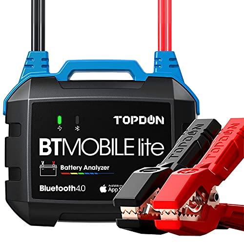 Car Battery Tester 12V Battery Load Tester, TOPDON BT Mobile Lite 100-2000CCA Wireless Automotive Alternator Tester Battery Analyzer Charging Cranking Tester for Car Truck Motorcycle ATV