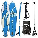Aukai SUP Surfboard 320cm Manta Stand Up Paddle Board aufblasbar + Paddel Surfbrett Paddling Padde (blau)