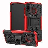 xinyunew Galaxy A8S Hülle, Handyhülle Hülle 360 Grad Ganzkörper Schutzhülle+Panzerglas Schutzfolie Schützend Handys Schut zhülle Tasche Cover Skin mit Ständer für Galaxy A8S Rot