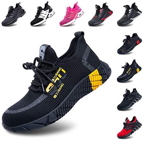 Zapatos de Seguridad Hombre Mujer Ligeros Calzado Zapatillas de Trabajo con Punta de Acero Deportivo Comodo Unisex Amarillo Talla 44