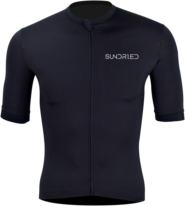 Sundried Mens Black Cycle Jersey Premium Bike Clothing Italian Fabrics