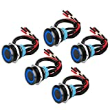 5Pcs 19mm 12V Waterproof ON Off Latching Push Button Switch with Wiring Harness and Blue L...