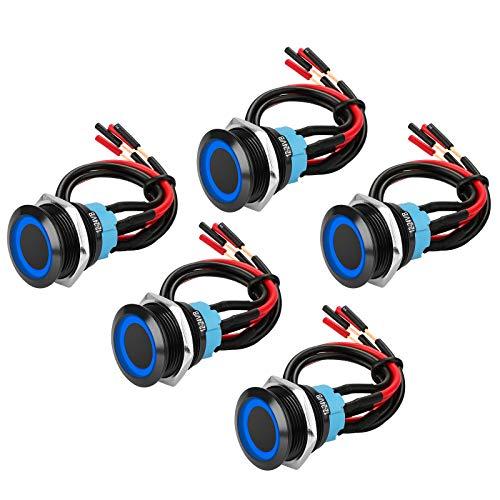 """5 pezzi 19 mm 3/4""""pulsante momentaneo con cavo 12V SPST interruttore a scatto in metallo Interruttore a levetta ON-OFF a 4 pin per foro di montaggio 0,74"""", guscio nero e LED blu"""