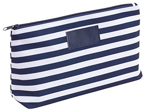 Kosmetiktasche Blau mit Streifen Kulturtaschen 28 x 9,5 x 18 cm Der Kulturbeutel verfügt über eine Kunstleder Applikation