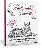 Kalligrafisch Zeichnen: die Kunst des schönen Schreibens modern interpretiert. Kalligraphie lernen mit praktischen Übungen für kreative Zeichnungen, persönliche Einladungskarten und meditatives Malen